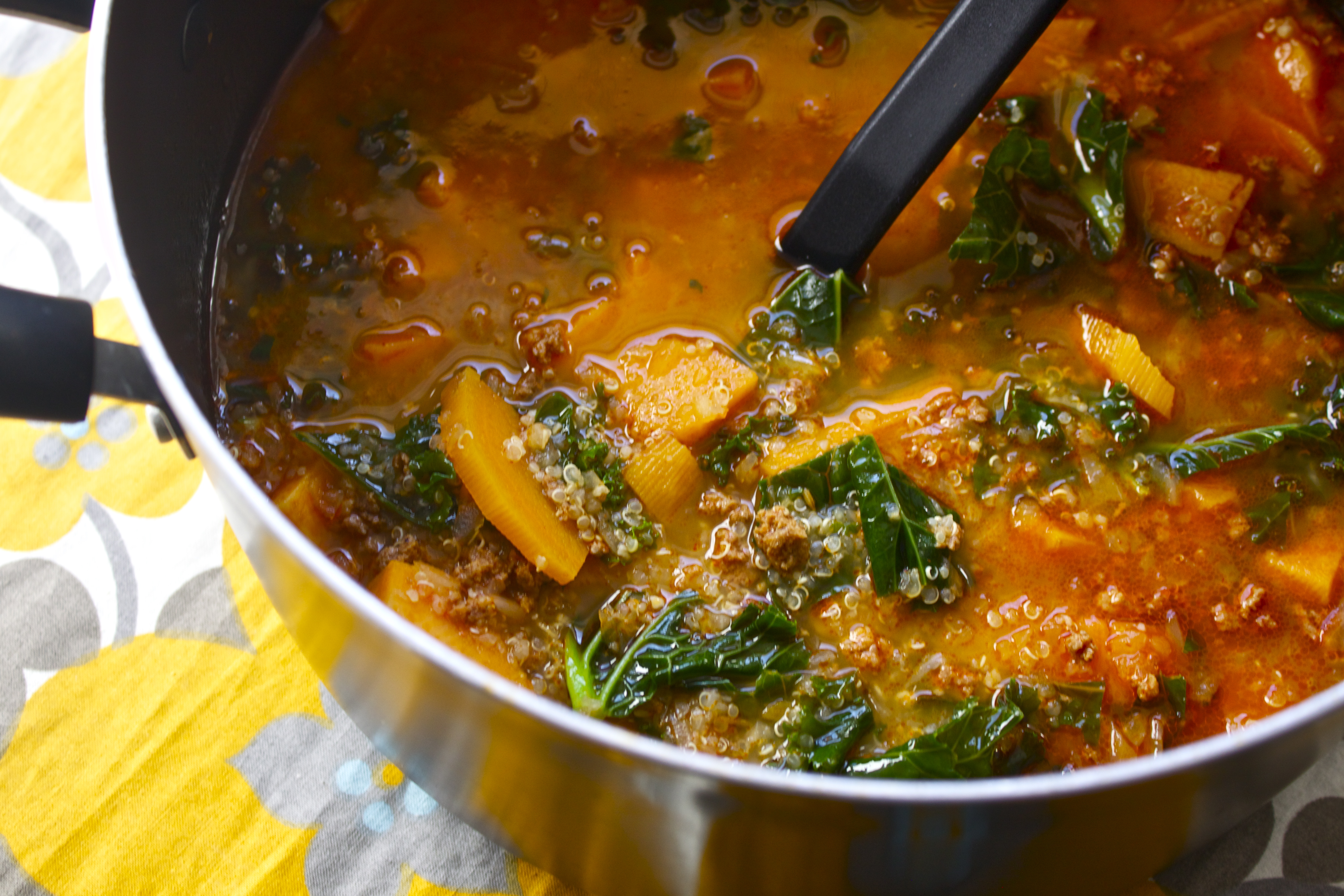 Winter Chorizo & Sweet Potato Soup | Kitchenspired