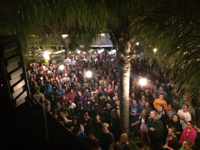 The 500+ students worshiping on the first night of the trip.